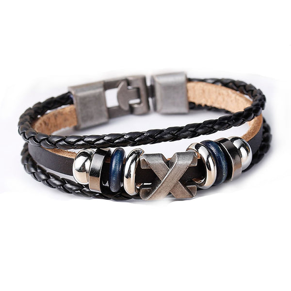 Women and Men's Real Leather Multilayer Bracelets Black Cord Metal Multicolor X Shape Beads - Sexy Sparkles Fashion Jewelry - 1