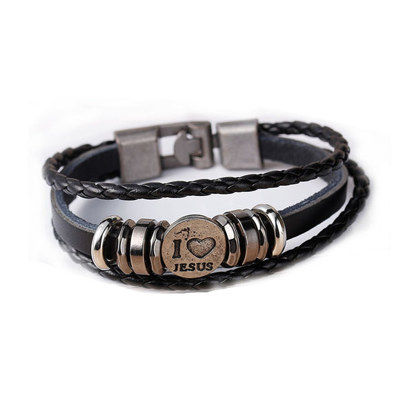 "Women and Men's Real Leather Multilayer Bracelets Black Cord "" I Love Jesus "" Carved Metal Multicolor - Sexy Sparkles Fashion Jewelry - 1"