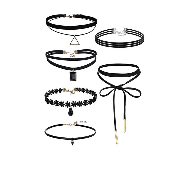 Sexy Sparkles 6PCS Womens Black Velvet Choker Necklace for Girls Lace Choker Necklace (6 Pcs a set)