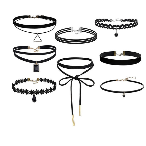 Sexy Sparkles 8PCS Womens Black Velvet Choker Necklace for Girls Lace Choker Necklace (8 Pcs a set)