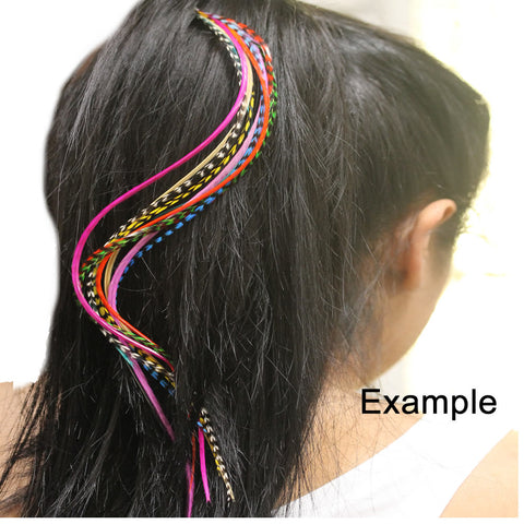 Feather Hair Extensions, 100% Real Rooster Feathers, Long Blue mix Colors, 20 Feathers with Beads and Loop Tool Kit