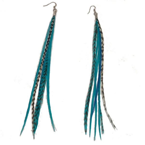 Aqua Blue Grizzly Feather Earrings Made with 7 Genuine Grizzly Rooster Feathers Each