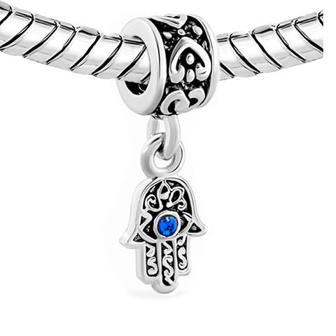 2 Sided Blue Hamsa Eye Hand Protection Against Evil Eye Dangle Charm Jewelry Bead Fits Pandora Compatible Bracelets - Sexy Sparkles Fashion Jewelry