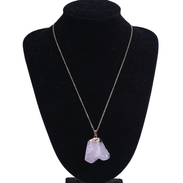 SEXY SPARKLES Natural Irregular Shape Pale Lilac Rose Quartz Druzy /Drusy Necklace Pendant