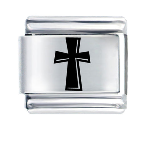 Black Cross Italian Link Bracelet Charm - Sexy Sparkles Fashion Jewelry - 1