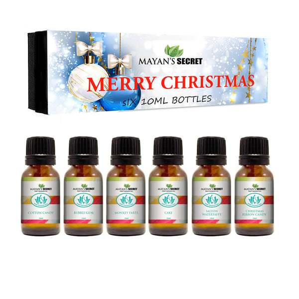 Premium Grade Fragrance Oil -Merry Christmas - Gift Set 6/10ml Cotton Candy, Bubble Gum, Monkey Farts, Cake, Salton Water taffy, Christmas Ribbon Candy