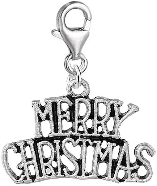 """ Merry Christmas "" Clip on Charm Dangling Bead for Necklaces,purses or bracelet"