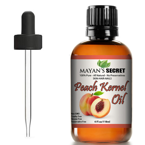 Peach Kernel Oil for Skin Elasticity,Firming, Hair, Massage and Nail Care. 4 Fl. oz