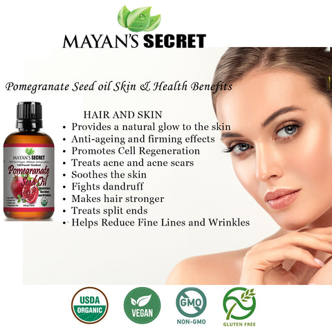 USDA Certified Organic Pomegranate Seed Oil for Skin Repair -Large 4oz Glass Bottle  Cold Pressed and Pure Rejuvenating Oil for Skin, Hair and Nails