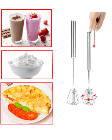 Premium Stainless-Steel Hand Push Whisk Blender, Egg Beater, Hand Egg Mixer for Flour Cake Egg,  (2pcs 10Inch & 12inch)