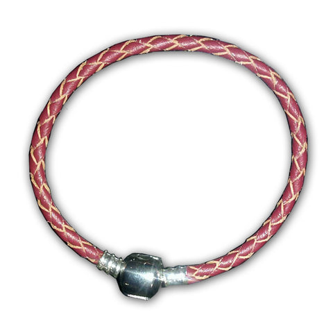 "8.5"" High Quality Dark Red Real Leather Bracelet For European Snake Chain Charms"