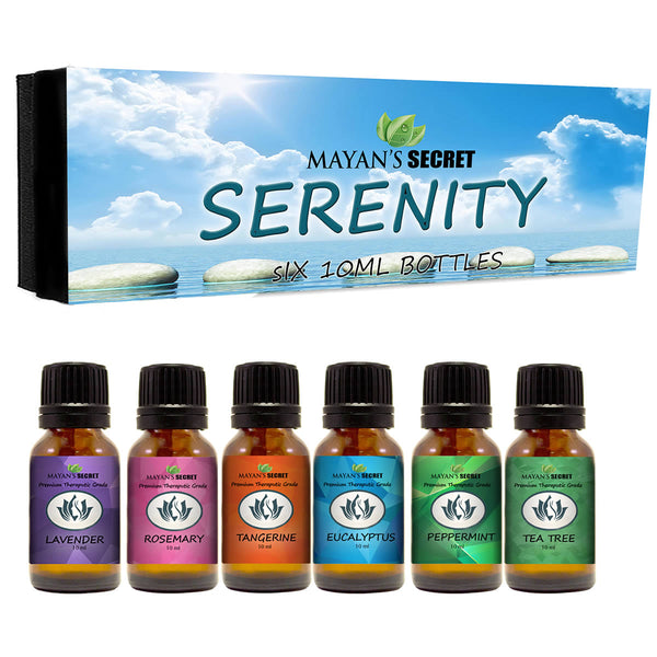 Premium Grade Essential Oils-Serenity- Gift Set 6/10ml Pure Essential Oils for Diffuser, Humidifier, Massage, Aromatherapy, Skin & Hair Care