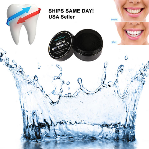 Sexy Sparkles 100% ORGANIC COCONUT ACTIVATED CHARCOAL NATURAL TEETH WHITENING POWDER WITH BAMBOO TOOTH BRUSH