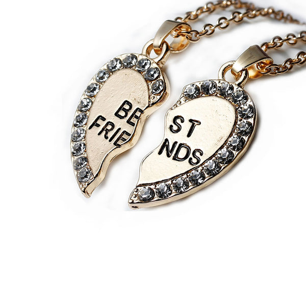 "Link Chain Cable Necklace Gold Tone Broken Heart "" BEST FRIENDS ""Clear Rhinestone Pendant - Sexy Sparkles Fashion Jewelry"