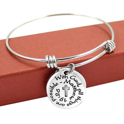 "Sexy Sparkles ""With God all Things Are Possible"" Expandable Wire Bangle Bracelet & Charm Religious Cross - Sexy Sparkles Fashion Jewelry - 2"
