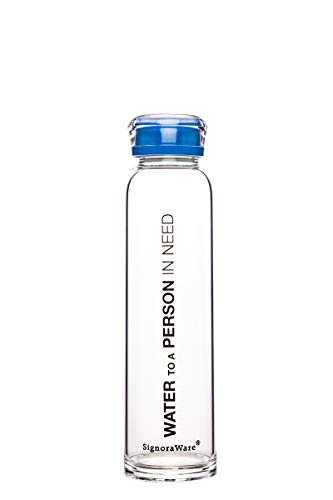 Signoraware Glass Water Bottle (390ml, Blue)