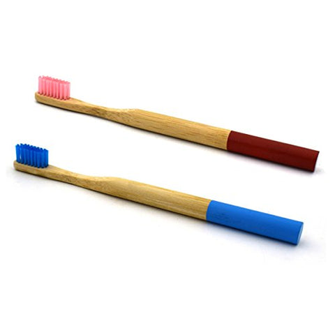 TOYMYTOY Bamboo Toothbrush Natural Bamboo Eco Friendly Soft Bristle Travel Toothbrush (Blue+Pink) - 2 Pairs | SpreeIndia.com - India's First Website That Discovers Eco-Friendly Products