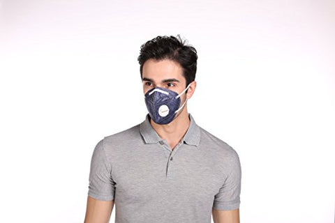 Honeywell PM 2.5 Anti Pollution Foldable Face Mask with Easy Exhalation Valve, Dark Blue Printed, Box of 5 | SpreeIndia.com - India's First Website That Discovers Eco-Friendly Products