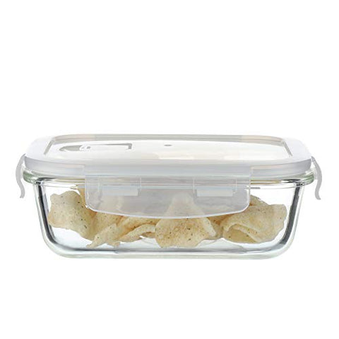Femora Borosilicate Glass Lunch Box, Set of 2, Clear