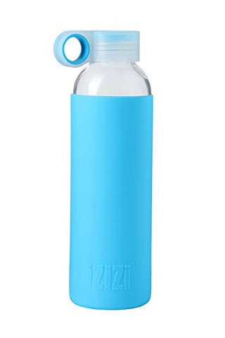 Izizi Glass Water Bottle With Anti-Slip Sleeve (500ml, Blue)