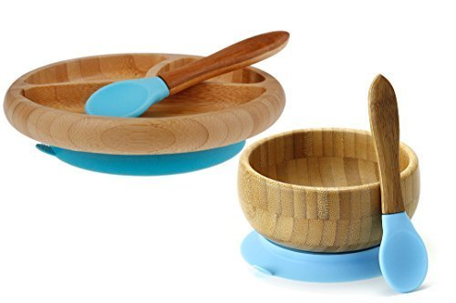 Feeding Bamboo Spill Proof Stay Put Suction Bowl (Blue)