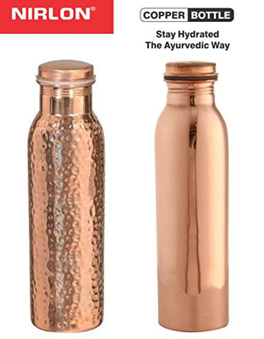 Nirlon Copper Bottle Set, Set of 2, Brown (CB_Plain_Hammered) | SpreeIndia.com - India's First Website That Discovers Eco-Friendly Products