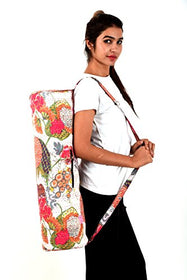 Exclusive White Floral Printed Cotton Kantha Work Yoga Mat Bag Gym Tote Bag Kantha Yoga Mat Cover By Handicraft-Palace | SpreeIndia.com - India's First Website That Discovers Eco-Friendly Products
