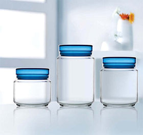 Luminarc Colorllicious Glass Food Storage Jar - 0.5 L, 0.75 L, 1 L ,Pack Of 3, (Blue Lid) | SpreeIndia.com - India's First Website That Discovers Eco-Friendly Products