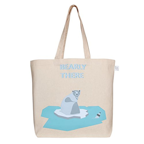 EcoRight Large Tote Bag 100% Cotton Canvas Reusable EcoFriendly Printed Bearly There (Natural) - 0201C02 | SpreeIndia.com - India's First Website That Discovers Eco-Friendly Products