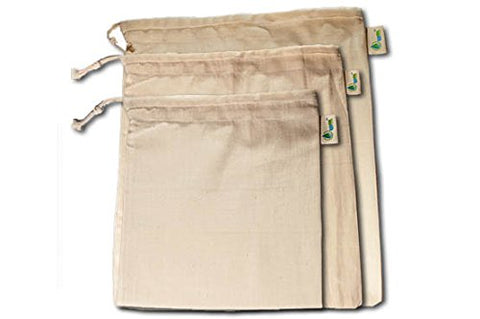 Noyyal Go Green (Tiger) Reusable Cotton Produce Bags - Set Of 6 (2Large (14X12), 2Medium (12X10), 2Small (10X8) Inches) | SpreeIndia.com - India's First Website That Discovers Eco-Friendly Products