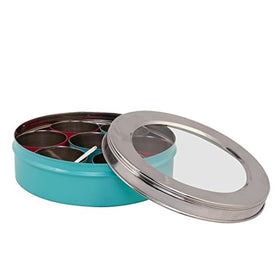 Eco-Friendly Stainless Steel Spice/Masala Box (7 bowls & 1 Spoon, Aqua)