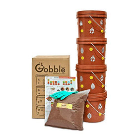 Daily Dump Gobble Senior Plastic Indoor Compost Bin Kit (2 Kg, Brown, 6-Pieces)