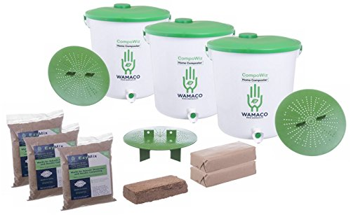 UGAOO Compost Bin for Converting All Kitchen Food Waste Into Fertilizer 14 LTR Bins - Set of 3