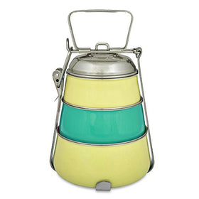 ELAN Dabbawala 3 Compartment Tiffin Box, Stainless Steel, Pyramid Shape, Traditional Indian Lunch Box, Yellow and Aqua | SpreeIndia.com - India's First Website That Discovers Eco-Friendly Products