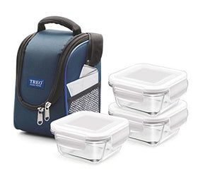 Treo Health First 3 Pcs Square Container Lunch Box, 300Ml