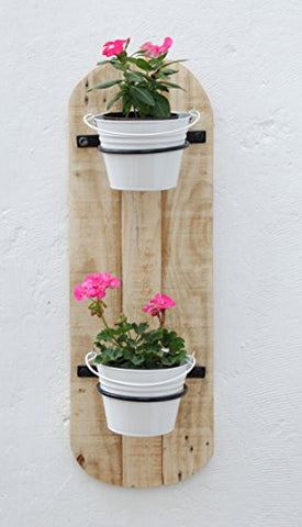 Green Gardenia Wood Vertical Wall 2 Pot Holders With Bucket/Wall Planter | SpreeIndia.com - India's First Website That Discovers Eco-Friendly Products