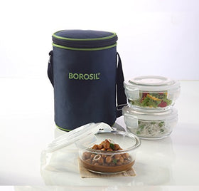 Borosil Klip N Store Microwavable Containers with Lunch Bag, 400ml, Set of 3, Transparent | SpreeIndia.com - India's First Website That Discovers Eco-Friendly Products