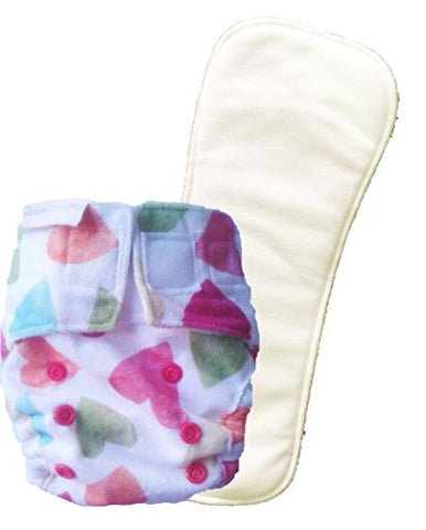 Superbottoms Newborn Cloth Diapers with 1 Dry Feel Soaker - Supersoft Baby Hearts