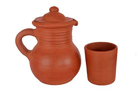 Earthen Handmade & Unglazed Water Jug + 1 Piece Glass