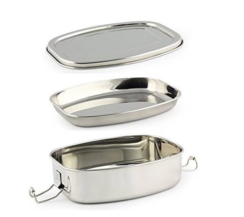 Kitchen Delli 100% Stainless Steel Lunch Box Set Of Two,Silver | SpreeIndia.com - India's First Website That Discovers Eco-Friendly Products