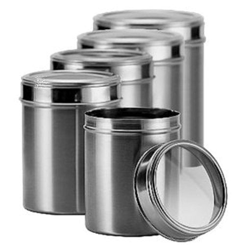 Dynore Stainless Steel Canister Set, Set of 5, Silver | SpreeIndia.com - India's First Website That Discovers Eco-Friendly Products