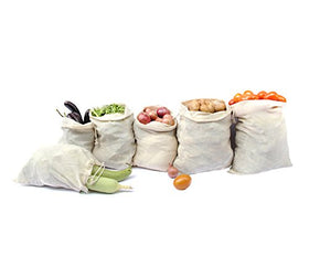 Clean Planet Eco Veggie Natural Cotton Produce Storage Bags Eco-Friendly, Non-Toxic, Multipurpose (Natural Combo Set of 6)