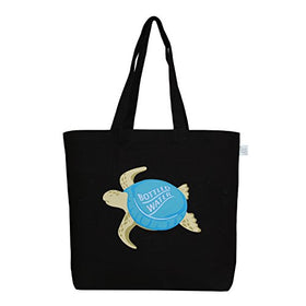 "EcoRight Large Tote Bag 100% Cotton Canvas Reusable EcoFriendly Printed ""Bottle Cap Turtle"" (Black) - 0202C01 