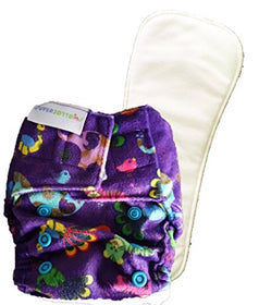Superbottoms Newborn Cloth Diapers with 1 Dry Feel Soaker - Supersoft Purple Love