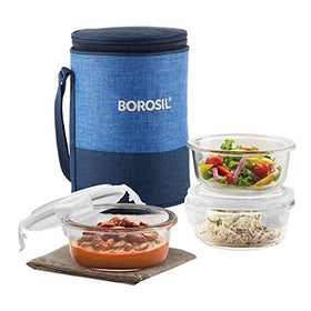 Borosil Prime Glass Lunch Box Set of 3, 400 ml, Round, Microwave Safe Office Tiffin
