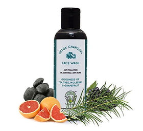 Greenberry Organics Detox Charcoal Face Wash With Tea Tree, Mulberry & Grapefruit