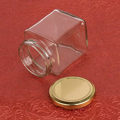 The Retailer House Pure Source India 150 Gram Glass Jar Square Shape ,With Metal Golden Color Cap Rust Proof Air Tight , (Set Of 6 Pcs) | SpreeIndia.com - India's First Website That Discovers Eco-Friendly Products