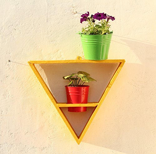 Green Gardenia Wooden Triangle Wall Stand with 2 Metal Pots-Yellow | SpreeIndia.com - India's First Website That Discovers Eco-Friendly Products
