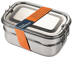 King International Stainless Steel Lunch Box | Food Grade Bento Lunch Box Rectangle School Tiffin Box | 2 Tier