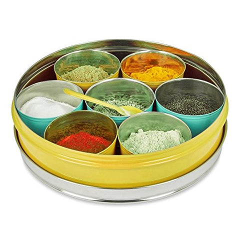 Spice Box, 7 compartments, Stainless Steel, Yellow